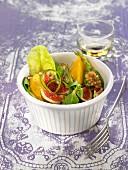 Lamb's lettuce, fig, peach and walnut salad