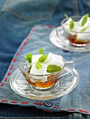 Lime-flavored meringue cubes with a mint infusion
