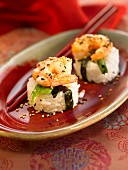 Rice, gambas, nori seaweed and sesame seed makis