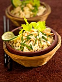 Rice, chicken, celery and sesame seed salad
