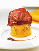 Braised melon puree with thinly sliced Cecina
