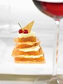 Filo pastry, quince paste and almond cream Mille-feuille
