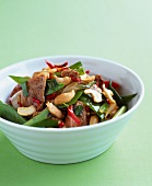 Pork, sugar pea and cashew Thai salad