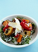 Potato, pumpkin and pepper salad with parmesan flakes