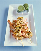 Grilled shrimp brochettes with lime and herbs