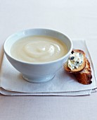 Cream of cauliflower soup with roquefort on toast