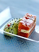 Stewed tomato and cream cheese terrine ,guacamole with black sesame seeds