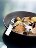 Pan-fried Dublin Bay prawns with potatoes and morels