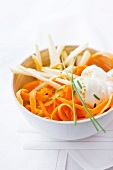 Grated carrot and apple stick salad