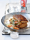 Crab and vegetable individual flaky pastry pie