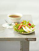 Rocket, mozzarella ,strawberry and pine nut salad