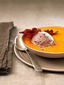 Pumpkin soup with bacon and almond-flavoured ice cream
