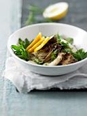 Artichoke,lemon and fried squid salad