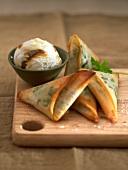 Samossas and Bulgarian ice cream