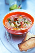 Streaky bacon and vegetable soup