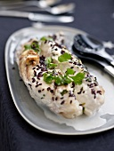 Monkfish with coconut milk and black rice