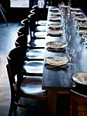 Long table in The Barbezingue Restaurant at Châtillon