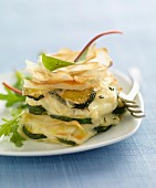 Crisp zucchini and goat's cheese Mille-feuille