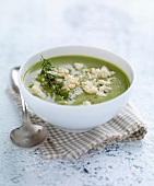 Cream of pea soup with feta