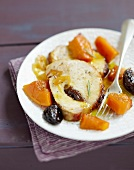 Roast pork with prunes and stewed pumpkin