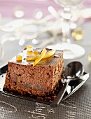 Chocolate and crystallized orange cheesecake