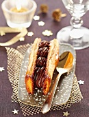 Caramelized flaky pastry and chocolate cream dessert