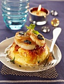 Parmesan Flan topped with pan-fried sliced scallops and trufles