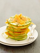 Green apple and mimolette Mille-feuille