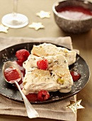 Ice cream nougat with raspberries
