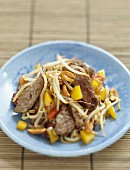 Beef, beansprout and peanut quick stir-fry