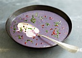 Cream of purple potato soup