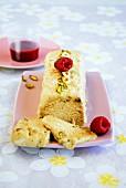 Pistachio-flavored ice cream nougat