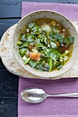 Spicy asparagus and herb broth