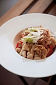 White bean, tuna, tomato and spring onion salad