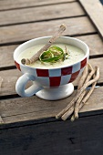 Cream of potato soup with licorice