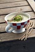Cream of potato soup with licorice