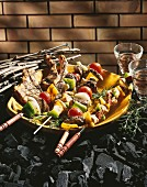 Grilled meat and brochettes