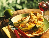 Grilled melon with honey and dried fruit