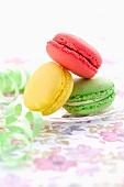 Drei verschiedene Macarons