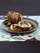 Saddle of rabbit stuffed with capers