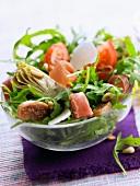 Raw ham, artichoke and fig salad