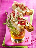 Marinated beef, ricotta and artichoke open sandwich