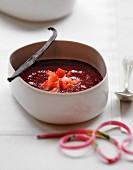 Vanilla-flavored summer fruit soup