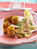 Polenta, smoked tempeh, miso, turmeric and lentil croquettes
