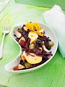 German-style red cabbage, radish, gherkin, olive and apple salad