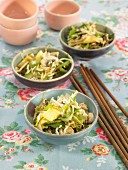 Indonesian Nasi goreng with seaweed, green pepper, basmati rice and soya beans