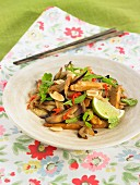 Pan-fried seitan with eggplants, lime peanuts and agave syrup