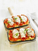 Tomato, leek and mozzarella polenta pizza