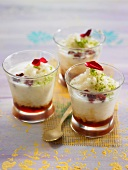 Rice pudding with rose jam and lime zests