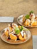 Dahi vada, lentil balls with yoghurt and cumin